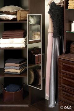 ORG Home: This hidden wonder packs a full-length mirror into the width of a hanger. It pulls out for easy use and tucks away in your closet until you need it. Closet Mirror, Bathroom Closet, Closet Storage, Closet Organization, Master Bedroom Closet, Closet Accessories, Custom Closets, Closet System, Closet Essentials