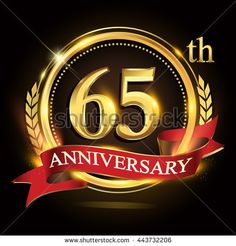 65th golden anniversary logo, 65 years anniversary celebration with ring and red ribbon, Golden anniversary laurel wreath design.