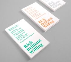 Rich Brilliant Willing business card with emboss detail designed by Project Projects.