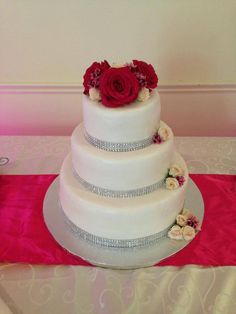 Three tier wedding cake with a little bling!