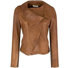 Toast Hatsuka Leather Jacket, Cinnamon (1.870 BRL) ❤ liked on Polyvore featuring outerwear, jackets, coats, tops, women, genuine leather jackets, long sleeve jacket, fleece-lined jackets, real leather jackets and brown jersey