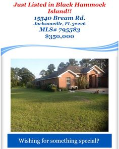 Just Listed in Black Hammock Island: 15540 Bream Rd, Jacksonville, FL 32226, MLS# 795583, $350,000. Brought to you by INI Realty Investments Inc., the first 100% Commission Real estate Office in Jacksonville, FL. www.100RealestateJax.com
