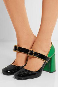 Prada | Patent-leather Mary Jane pumps | NET-A-PORTER.COM