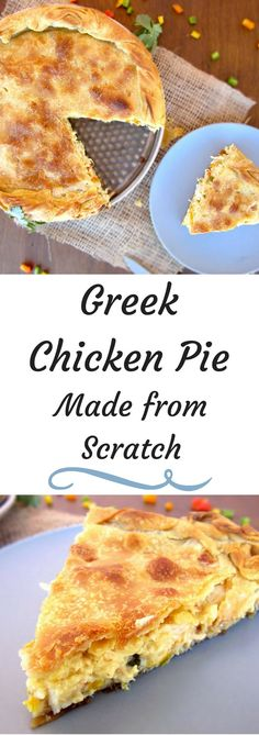 Greek Chicken Pie Recipe is a delicious pie with crispy homemade filling. The filling is very creamy not runny. It's made with colorful peppers instead of carrots and peas, some tangy Greek Gruyere and fresh herbs. Ridiculously tasty! #chickenpie,#fromscratc,#creamy,#phyllo,#crispy,#homemade,#Greek