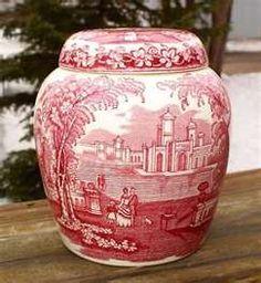 Masons Vista Ironstone Ginger Jar Red/Pink Transferware