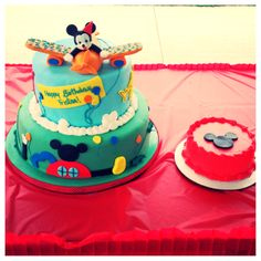 Mickey Mouse 1st birthday cake and smash cake