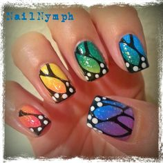 Rainbow butterfly wings. I couldn't pick a color, so I decided to do all the colors!