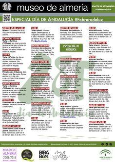 #Febrerodeluz  Ya está aquí el boletín de actividades del #MuseoAlmeria para este mes de febrero. Nuevas exposiciones, como el Desencaja de fotografía, la celebración del Día de Andalucía, con numerosas actividades, talleres, cine, visitas, músiva, charlas, ... son algunas de las propuestas para este mes de #VuestroMuseo. Ven y descubre hasta exposiciones temporales ;)