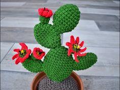 CACTUS GRANDE DE GANCHILLO , CON FLORES - YouTube Crochet Flower Tutorial, Crochet Flower Patterns, Crochet Flowers, Crochet Cactus, Crochet Decoration, Handmade Flowers, Cactus Plants, Free Pattern, Knitting