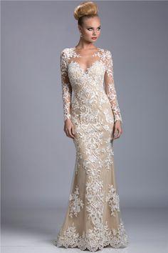 $179 - Evening Gowns Long Sleeves V Neck Mermaid White Appliques Floor Length Sheer Prom Dresses - Babyonlinedress.com