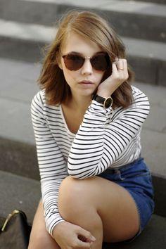 Casual Outfit, Kapten & Son Watch, striped Shirt, denim Skirt, #bekapten, #kaptenandson