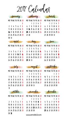 Free 2017 Year at a Glance Planner Insert from Wendaful