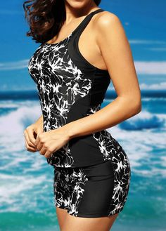 Patchwork Black Round Neck Flower Print Tankini Set on sale only US$32.89 now, buy cheap Patchwork Black Round Neck Flower Print Tankini Set at liligal.com
