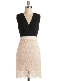 Love the lace/texture combination. Would do dark on bottom and light on top. Office Awards Dress, #ModCloth