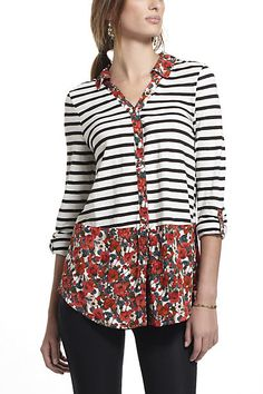 Woven Borders Buttondown #anthropologie top shirt blouse mixed fabrics