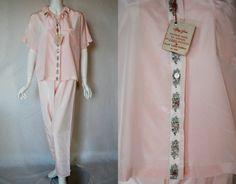 1950s Mary Jane Pink Pajamas 36 Medium Large  by IntimateRetreat