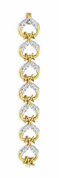 A SET OF DIAMOND AND GOLD JEWELRY, BY JEAN SCHLUMBERGER, TIFFANY & CO. Comprising a bracelet, designed as a series of polished 18k gold open links decorated with circular-cut diamond foliate detail; and a pair of ear clips en suite, mounted in platinum and 18k gold, bracelet 6¾ ins., ear clips with hooks for suspension Each signed Schlumberger for Jean Schlumberger, Tiffany & Co