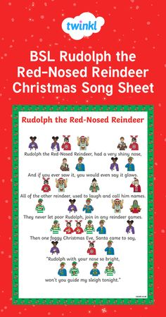 BSL Rudolph the Red-nosed Reindeer Christmas Song Sheet - British Sign Language - List Halloween Sign Language Games, Sign Language For Kids, Sign Language Phrases, Sign Language Alphabet, Sign Language Interpreter, Learn Sign Language, British Sign Language, French Language, Learn Bsl