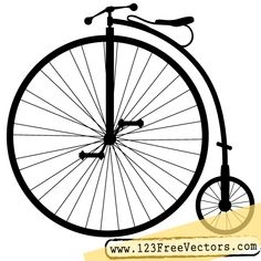 Download Free Vintage Penny-Farthing or High Wheel Bicycle Vector Clip Art Silhouette Image. Free Vector from www.123FreeVectors.com. More Free Vector Graphics, www.123freevectors.com