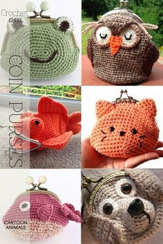 Coin purses, how cute are these? Learn about purse frames, how to attach crochet to frames, free and purchase patterns - DiaryofaCreativeFanatic Crochet Gifts, Diy Crochet, Crochet Toys, Learn Crochet, Crochet Things, Crochet Coin Purse, Crochet Purse Patterns, Crochet Change Purse, Crocheted Purses