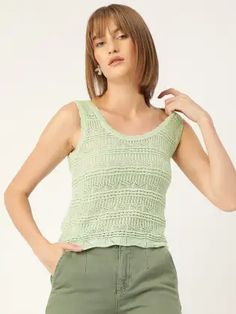 MANGO Women Green Semi-Sheer Lace Embroidered Top