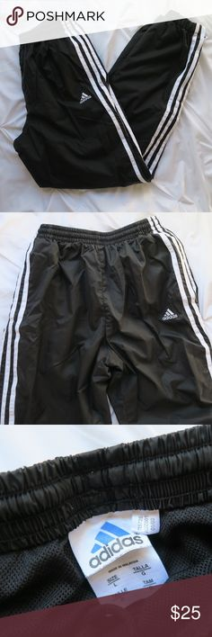 Adidas Windbreaker Pants (Youth) Adidas Youth Windbreaker Pants Worn, but in overall condition Drawstring close Zippers at ankle  🚫 No trades 📦 Will ship next day, or even same day ✨ Open to offers 💡 Bundle to save on shipping adidas Bottoms