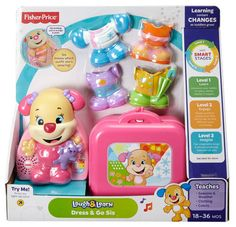 Check out the Laugh & Learn Dress & Go Sis at the official Fisher-Price website. Explore all our Laugh & Learn toys, playsets and accessories today! Baby Girl Toys, Baby Play, Toys For Girls, Fisher Price Toys, Vintage Fisher Price, Toddler Toys, Kids Toys, 80s Kids, Pool Party Drinks