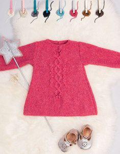 Modèle robe Phil Soft + Layette Kids Knitting Patterns, Knitting For Kids, Knit Baby Dress, Fashion Kids, Kind Mode, Knit Crochet, Knitted Baby, Baby Kids, Cold Shoulder Dress