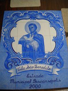 Painel azulejos Sao Benedito pintado a mão . Silvia Carneiro