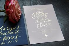 Gold foil calligraphy on white paper. Navy envelope with gold ink calligraphy. Wedding Paper, Wedding Cards, Wedding Favors, Our Wedding, Wedding 2017, Wedding Ideas, Unique Invitations, Beautiful Wedding Invitations, Wedding Invitation Design