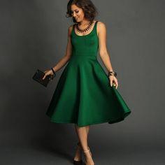 372dfb4dd4 Tan Dresses, Tea Length Dresses, Green Dress Outfit, Emerald Green Dresses,