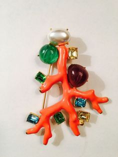 Kenneth Jay Lane Coral Branch Cabochon Faux Emerald Turquoise Pearl Vintage 90s | eBay