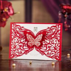red laser cut card with butterfly for wedding invitation cw5056