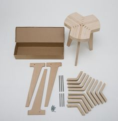 Bent plywood stool. A large plywood sheet get bent and cut in bars. These bars get screwed together with three milled legs, so the structure is solid and steady.