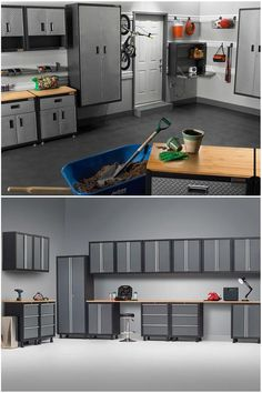 Keeping an organized garage could make everything from cleaning the cars and truck to finding a screwdriver just a little simpler. #industrialfurniture #industrial #desks #industrialworkbench