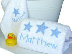 Big Stars for Little Boys Personalised Towel Set Keepsake Baby Gifts, Baby Gift Box, Personalized Towels, Personalised Baby, Bath Towel Sets, Bath Towels, Star Designs, Big Star, Bath Time