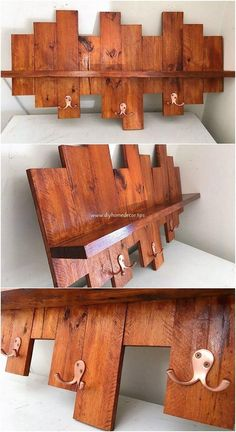 This elegant piece of wood pallet wall shelf is a perfect option for your house furnishings. Having a wall shelf with the coat rack made from wood pallet turns out to add the beauty of your house. It makes you offer with two in one services of the wall shelf and as the coat rack.