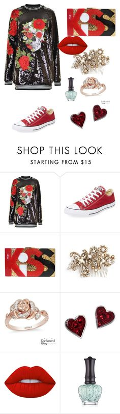 """""""Untitled #52"""" by cori-dillinger on Polyvore featuring Philipp Plein, Converse, Erickson Beamon, Disney, Lime Crime and Anna Sui"""