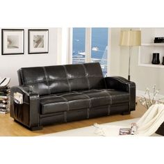 Furniture of America Colona Black Faux Leather Futon at Lowe's. Looks like a regular sofa, but easily converts to a comfortable bed! This stylish futon sofa has built-in drink cup holders, is trimmed in white double Futon Diy, Futon Bedroom, Futon Sofa Bed, Futon Mattress, Best Sleeper Sofa, Best Sofa, Sleeper Sofas, Cool Ideas, Couch Ikea