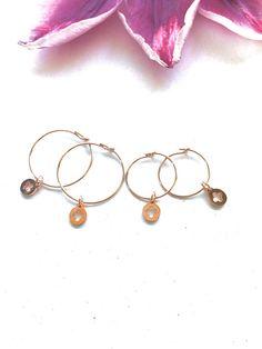 Rose Gold Skinny Hoops Rose Hoop Earrings Charm Hoops #rosegoldhoops #jojodebulmer #etsy #hoopearrings