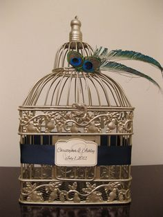 Champagne Bird Cage Wedding Card Holder with by SoClassicallyChic, $45.00