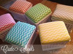 Fabric cushion on storage crate 10 Ways to Make a Dorm Room Feel Like Home - Dorm Room DIYs - Good Housekeeping
