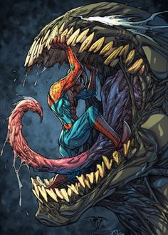 "comicbookartwork:  "" Spider-Man and Venom  """
