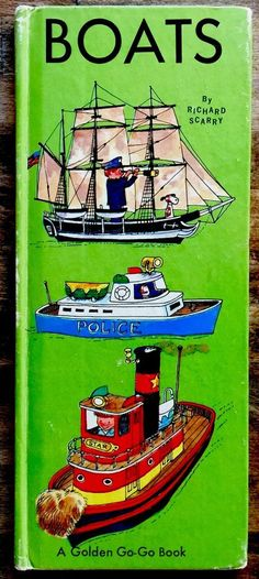 BOATS By Richard Scarry ~ 1960's Children's Tall Picture GOLDEN GO-GO Book Richard Scarry, Children, Boats, Ebay, House, Young Children, Boys, Ships, Home
