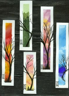 Were origonally watercolour paper and watercolour paint with pen and ink trees. But could use as inspiration for an art lesson - tissue paper? Not tried yet so you on your own, folks.