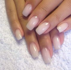 Natural gel nails. Just had my nails done like this and it looks great! Low maintenance. I cut mine a bit shorter