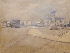Ronca Benvenuto (1881 1944) - Il ponte della Vittoria dal lungadige Riva S.Lorenzo - 1933 matita su cartoncino. Verona che si rinnova. La vecchia colonna dei lanieri, il ponte della Vittoria e il nuovo quartiere di Borgo Trento.