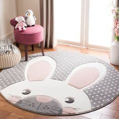 Harriet Bee Burgan Kids Gray Area Rug Rug Size: Rectangle x Pink And Grey Rug, Grey Rugs, Living Room Carpet, Rugs In Living Room, Colorful Decor, Colorful Rugs, Tapetes Diy, Kids Area Rugs, Childrens Rugs