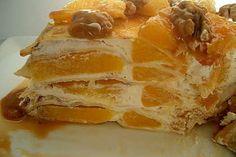 Tort de clatite cu portocale si sirop caramel
