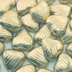Gold Heart Chocolate Wedding Favour - Pkt 100